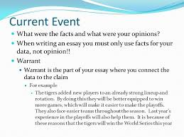 current event in order to write a good essay you must include  7 current