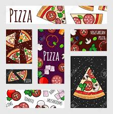 Flyer Pizzeria Design Cartoon Pizza Banners Template Fast Food Label Banner Flyer