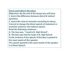 Narraion And Rules Of Narration Slide