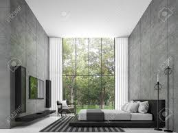 modern loft furniture. Modern Loft Bedroom 3d Rendering Image The Room Has A High Ceiling. There Is Furniture I