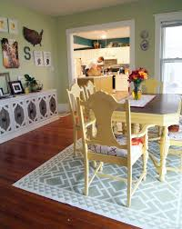 diy painted linoleum area rug for dining area