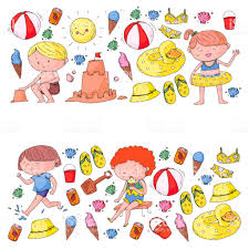 Clip Art Family Adventures Kids On Happy Summer Holiday Beach