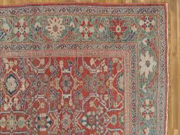 hand knotted antique persian sultanabad carpet handmade oriental rug light blue red