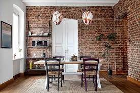 dining rooms with brick walls
