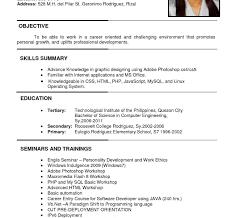 Sample Pdf Resume Resume Template Sample Format For Job Download Ojt Engineering 40