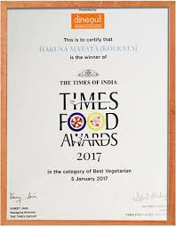 the global fusion cuisine best vegetarian restaurant award from  hakuna matata the global fusion cuisine best vegetarian restaurant award from times food award