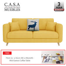 casa muebles roosevelt 3 seater sofa with coffee table