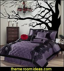 Beautiful Goth Bedroom Decorating Ideas Fresh In Best Gothic Bedrooms Purple Bedding  Spooky Tree Wall Deca