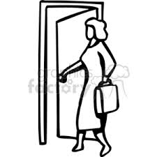 door clipart black and white. Black And White Woman Entering Through A Door Clipart