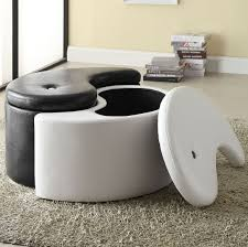 White Leather Living Room Furniture Living Room Living Room Ottoman Storage With White Leather Round