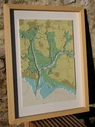 Marine Chart Portsmouth Harbour Pin On Framed 3d Nautical Relief Charts