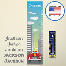 wallclipz personalized fabric growth chart wall decal downtown city scene with name height ruler measurement l