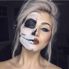 attractive half skull hallf face makeup