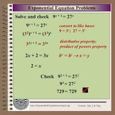 aim exponential equations using logs course alg