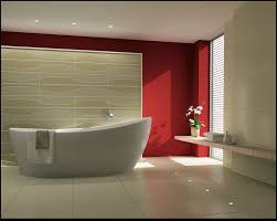 red bathroom color ideas. Bathroom:Elegant Red Bathroom Design Inspirations With Standing White Bathtub And Floating Vanity Plus Small Color Ideas
