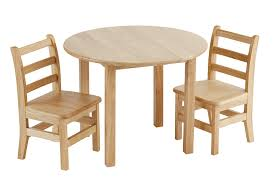 round white oak wood table with three chairs and a stool kitchen kids