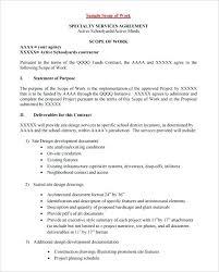Scope Of Work Proposal Template Sample Scope Of Work Template Scope