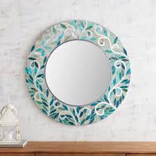 blue swirl mosaic 31 5 round mirror