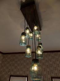 photo 6 of 6 homemade mason jar chandelier 6 blue mason jar chandelier