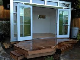 10x14 signature series studio shed double glass french doors modern home office