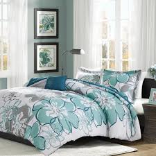 beautiful chic modern blue grey green aqua teal white flower soft comforter set