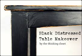 black distressed table makeover