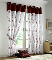 Maroon Curtains For Living Room Brandy Lined Eyelet Curtains Modern Bright Tree Leaves Ready Made