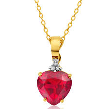 home 9ct superb yellow gold created ruby diamond heart pendant image