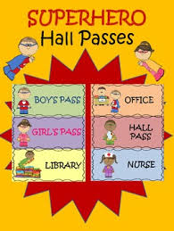 Hall Passes For School Superhero Hall Passes Teaching Resources Teachers Pay Teachers