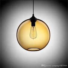 modern art deco hanging colorful glass ball e27 pendant lamp with led lights cord for restaurant dining living room kitchen bar clear glass pendant light