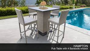 wicker pub style patio table with