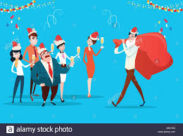 Businesspeople Celebrate Merry Christmas And Happy New Year Office