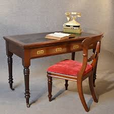 antique desk victorian english leather top mahogany writing study table c1880