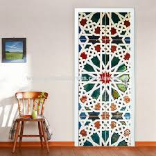 china color kaleidoscope glass door bathroom vinyl decal bedroom 3d wall stickers home decoration