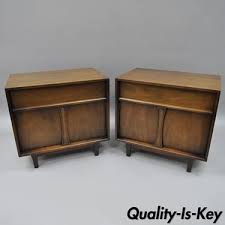 mid century modern bedside table. Pair Vintage Walnut Mid-Century Modern Nightstands Bedside Tables Drexel Pacer Mid Century Table I