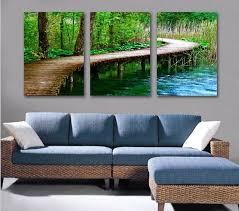 curved bridge wood cute lake green jungle book diy art oil wall picture 3 panel modern on 3 panel wall art diy with curved bridge wood cute lake green jungle book diy art oil wall