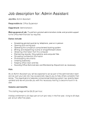 Administrative Assistant Job Description Resume administrative assistant medical office job description 18