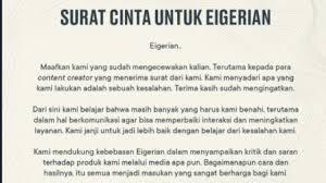 Eiger mengaku bertujuan untuk memberikan masukan kepada pengulas tersebut. Eiger Bagikan Surat Cinta Publik Kembali Murka Dan Lempar Tuntutan Ini Berita Hits
