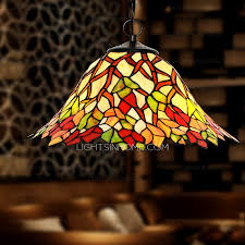 Perfect Pastoral Leaf Pattern Stained Glass Pendant Lights For Kitchen