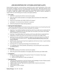 Cook Job Description Resume Kitchen Manager Job Description Salary zhisme 86