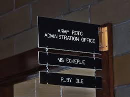 photo of army rotc adminstrative office nameplate in crowder hall