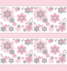 Flower Wall Paper Border Pink Grey Gray Flower Wallpaper Border Wall Decals Girl Floral
