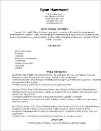 Resume Templates: Entry Level College Professor Resume