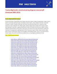 toyota highlander electrical wiring diagram manual pdf 2001
