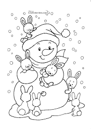 Cute Bunnies And Snowman Free Winter