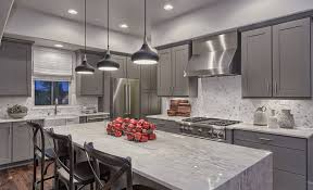 collect idea strategic kitchen lighting. Sleek Grey Kitchen Cabinets Blend Nicely With Stainless Steel Appliances Countertops Collect Idea Strategic Lighting