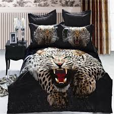 lifelike 3d snow leopard bedding set queen size pure cotton animal in cheetah print duvet cover