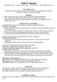 Chronological Resume Sample ESL Instructor