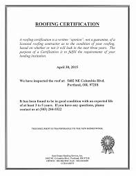 Roof Certification Sample Real Estate Roofing