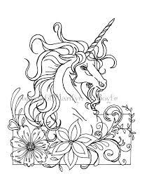 Colorare Unicorno Fantasia Download Digitale Fiori Etsy